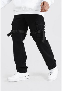 True black Relaxed Fit Strap Cargo Jean