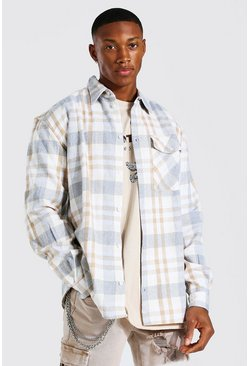 Ecru white Oversized Check Shirt
