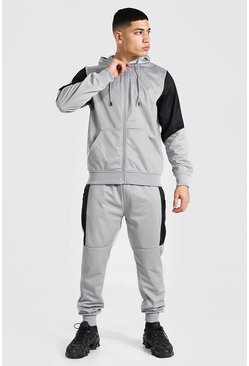 Grey Poly Zip Hooded Tracksuit With Contrast Panel