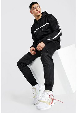 Black Poly Zip Hooded Tracksuit Stripe Contrast