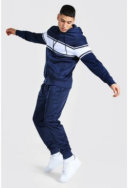 Navy Poly Zip Hooded Tracksuit With Contrast Panel