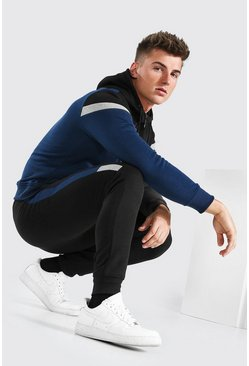 Blue Colour Block Zip Through Hooded Tracksuit