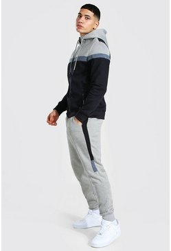 Colour Block Zip Through Hooded Tracksuit, Black noir