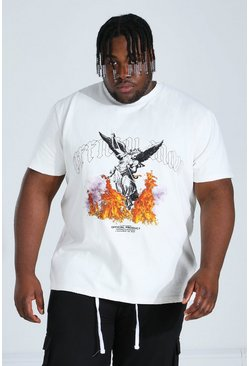 Ecru white Plus Size Heavyweight Statue Print T-shirt
