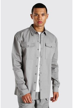 Grey Tall Utility Pocket Twill Overshirt
