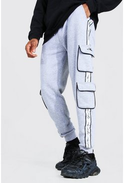 Grey marl grey Official Man Skinny Side Tape Cargo Joggers