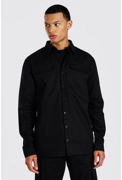 Black Tall Utility Pocket Twill Overshirt