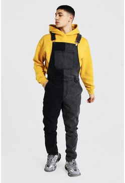 Slim Rigid Contrast Long Dungaree, Charcoal grau