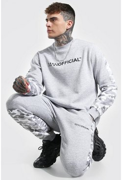 Man Official Colour Block Sweater Tracksuit, Grey marl gris