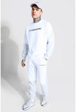 Man Official Colour Block Sweater Tracksuit, White blanco