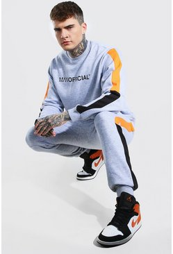 Man Official Colour Block Sweater Tracksuit, Grey gris