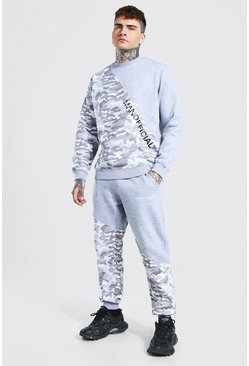 Man Camo Spliced Raw Seam Sweater Tracksuit, Grey gris