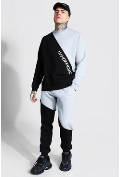 Grey marl grey Man Spliced Raw Seam Sweater Tracksuit
