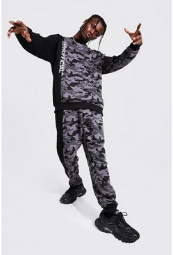 Man Official Colour Block Camo Sweater Tracksuit, Black negro