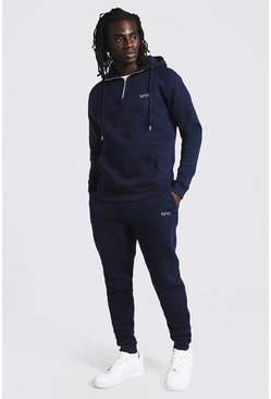 Man Active Tapered 1/4 Zip Tracksuit, Navy azul marino