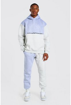 Grey marl grey Oversized Man Colour Block Hooded Tracksuit