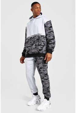 Black Oversize Man Camo Colour Block Hood Tracksuit