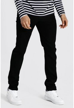 Tall Steife Slim-Fit Jeans, Schwarz