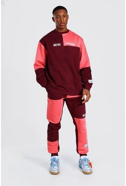Red Oversized Man Colour Block Sweater Tracksuit