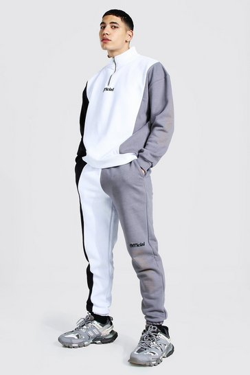 Grey Official Colourblock Oversized Tracksuit