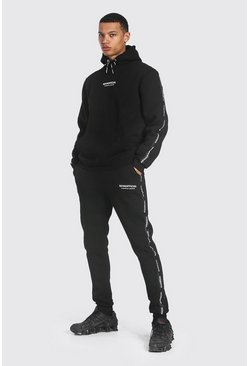 Tall Man Official Waistband Detail Tracksuit, Black Чёрный