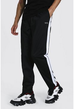 Black Tall Loose Fit Tricot Side Tape Joggers