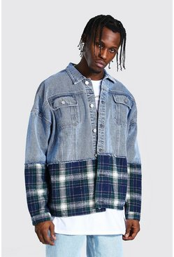 Light blue blue Oversized Check Mix Denim Jacket