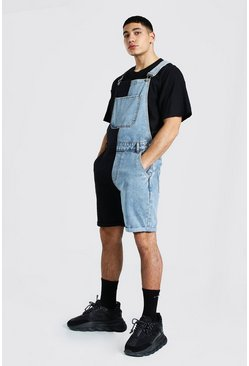 Ice blue Slim Rigid Splice Dungaree Short