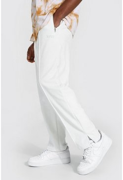 Ecru white Original Man Velour Pintuck Joggers With Zips