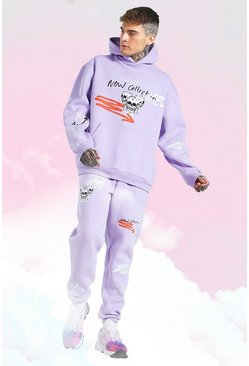 Lilac purple Oversized Skull Graffiti Print Hooded Tracksuit