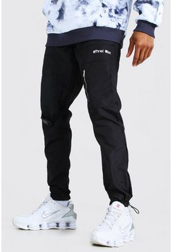 Black Official Man Shell Buckle Joggers