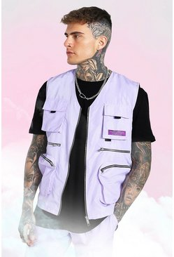 Lilac purple Utility Vest With Man Tab Detail