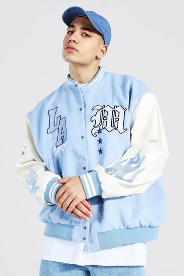 Blue Oversized Badge Varsity Bomber