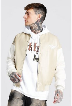 Bomber universitaria tonal, Crudo blanco
