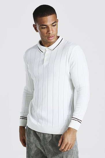Cream white Muscle Fit Long Sleeve Contrast Stripe Ribbed Polo