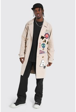 Stone beige All Over Varsity Badge Trench Coat