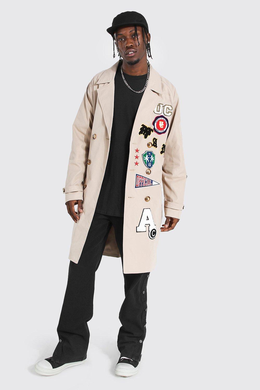 Men's Coats & Jackets All Over Varsity Badge Trench Coat