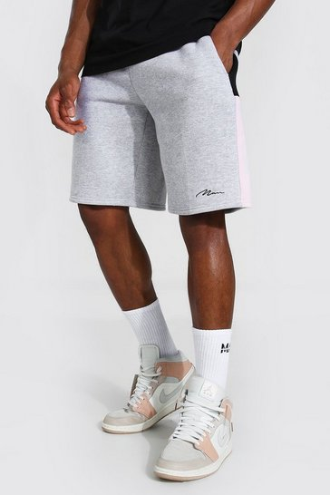 Grey marl grey Man Signature Colour Block Panel Loose Shorts