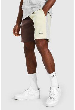 Taupe beige Man Colour Block Mid Length Regular Shorts