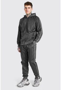 Charcoal grey Poly Zip Hooded Tracksuit With Piping