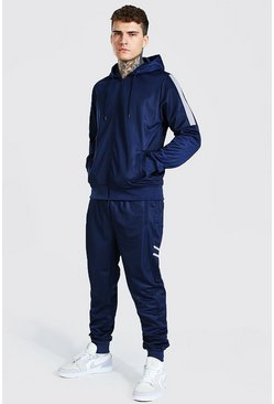 Navy Poly Zip Hooded Contrast Detail Tracksuit