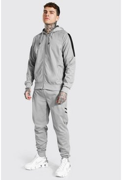 Grey Poly Zip Hooded Contrast Detail Tracksuit