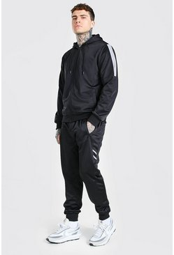 Black Poly Zip Hooded Contrast Detail Tracksuit