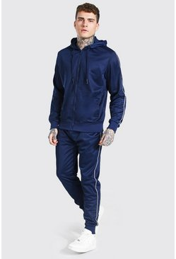 Navy Poly Zip Hooded Tracksuit With Piping