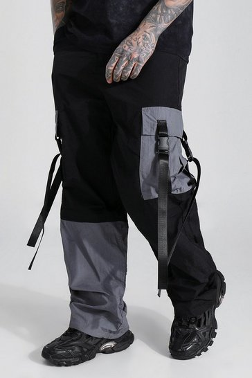 Charcoal grey Shell Colour Block Strap Cargo Trouser