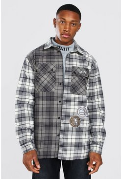 Varsity Badge Check Overshirt, Charcoal grigio