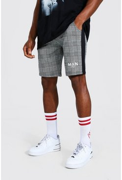 Black Roman Man Check Jacquard Slim Mid Shorts