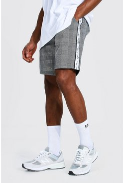 Black Official Man Tape Jacquard Mid Jersey Shorts