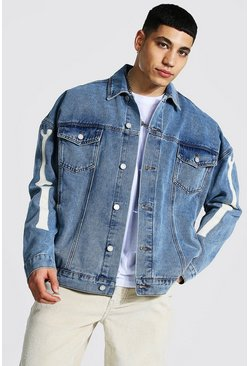 Ice blue Oversized Skeleton Applique Denim Jacket