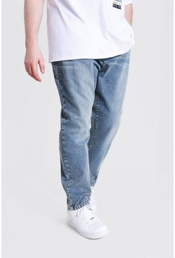 Vintage blue blue Plus Size Slim Fit Rigid Jean